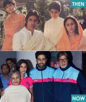 3) Junior Bachchan with father Big B, Mom Jaya and sister Shweta.