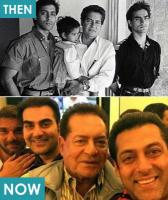 4) Salman Khan pictured with dad Salim Khan, brothers Arbaaz, Sohail and sister Arpita.