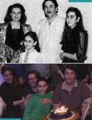 5) Kareena Kapoor with dad Randhir, mom Babita and sister Karishma.